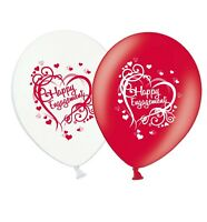 "Engagement - Heart - 12"" Wedding Red & White Latex Balloons pack of 5"