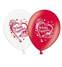 "Engagement - Heart - 12"" Wedding Red & White Latex Balloons pack of 25"