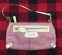 COACH PURSE - Pink Mauve & White Leather Handbag Clutch, Gold Accents