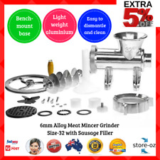 6mm Alloy Meat Mincer Grinder Size-32 with Sausage Filler Light weight Aluminium