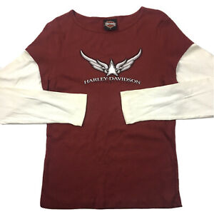 Ladies Harley Davidson Eagle Cotton Motor Cyles Party Red Tops T Shirts 27