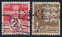 Denmark Perfin K34-KL: UNKNOWN user (1953-1968), RF: 40 (2 stamps)