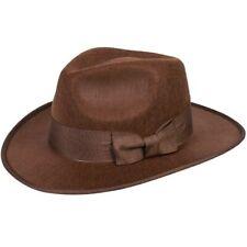 Indiana Jones Brown Fedora Hat For Cowboy & Indians Fancy Dress Costume New