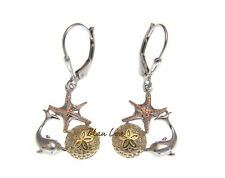 925 Silver Hawaiian Tricolor Dolphin Starfish Sand Dollar Leverback Earrings
