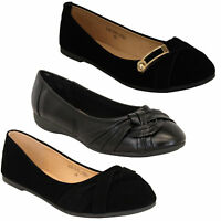 Ladies Ballerina Womens Suede Patent Look Pumps Flat Slip On Ballet Knot Shoes