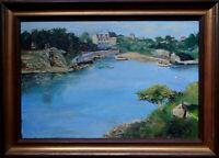 Ancien tableau huile marine Port Clos de l'île de Bréhat Bretagne signe