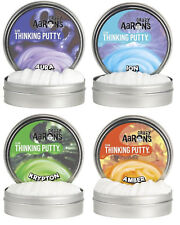 "Crazy Aaron Thinking Putty Glows Aura Ion Krypton Amber 4"" Tin 4 Pack NEW"