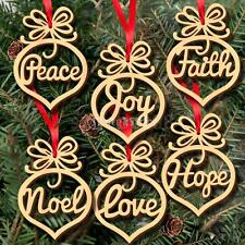 6pcs Wooden Shape MDF Christmas Tree Decoration Faith Noel Letters Cutout