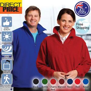 Mens Womens Half Zip Polar Fleece Pullover Jumper Unisex Sport outdoor PF01