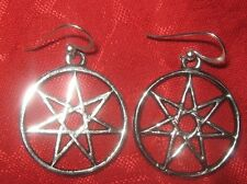 SILVER TONE  25mm FAIRY STAR  HEPTAGRAM WICCAN EARRINGS