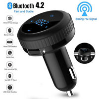 Bluetooth 4.2 car kit FM transmitter wireless radio adapter TF Slot USB charger