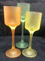 Set of 3 Crackle Glass Stemmed Votive Green Orange Yellow - Vintage Feel