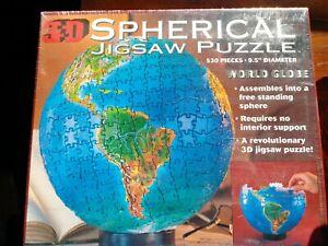 """Sealed, unopened Buffalo """"World Globe"""" 3D Spherical 530 Piece Jigsaw Puzzle"""