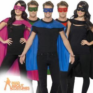 Adult Superhero Cape and Eye Mask Set Costume Mens Womens Fancy Dress Outfit