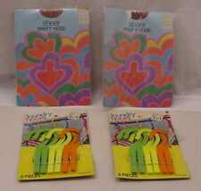 VINTAGE FLOWER POWER ERA PSYCHEDELIC GRAPICS 2 CLOSE PINS AND 2 PANTY HOSE LOT