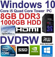 Windows 10 Core i5 Quad Core HDMI Gaming Tower PC 8GB DDR3 - 128GB SSD&1000GB HDD