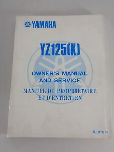 Taller Manual / Manual D'Entretien Yamaha YZ 125 K Moto de Cross Desde 09/1982