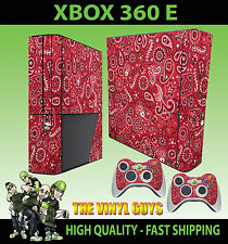 Xbox 360 E Rot Paisley Bandana Do Rag Stil Skin & 2 Controller Polster Hülle