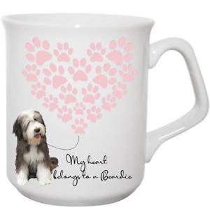 Bearded Collie dog Mug Ceramic My heart belongs to a Beardie Gift idea