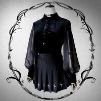 Lolita Balloon Long Sleeve Palace Shirt Chiffon Spliced Blouse Gothic Tops