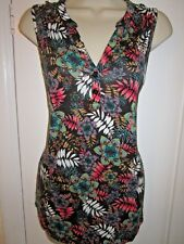 Ladies size 10 George black with multi coloured floral sleeveless summer top
