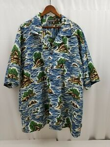 Montage Microfiber Mens Hawaiian Shirt, Tropical Island Print Short Sleeve 2XL