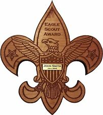 "Eagle Scout Award - Laser cut and engraved from 1/2"" cherry wood, personalized"