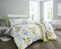 200 Thread Count Cotton Rich King Duvet Cover Set Yellow & Grey Floral Design