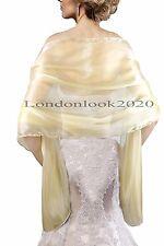 Women Evening Dress Gold Silky Bridal Bridesmaid Wedding Prom Shawl Stole Wrap