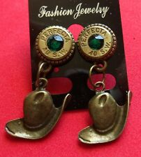 BULLET EARRINGS  40 CAL S& W PERFECTA WITH EMERALD AND COW BOY HAT NEW UNUSED