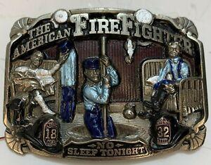 Vintage 1986 American Firefighters Belt Buckle No Sleep Tonight Made USA