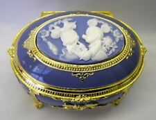 Gift Disney Mickey Oval Blue Jewelry Music Box song 'A small world' F/S JAPAN