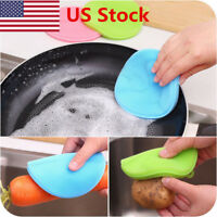 US Silicone Sponge Kitchen Cleaning Dish Washing Scrubber Antibacterial Tools