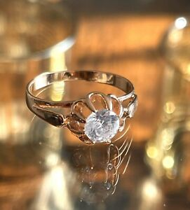 Solid 585 Russian Rose Gold Ring 14ct 14k Rose Gold Ring