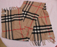 Burberry Womens Mens Classic Cashmere Scarf in Camel Check Good Used Condition