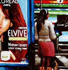 "Elvive- 6x6"" street urban tram woman Amsterdam realism daily painting G. Boersma"