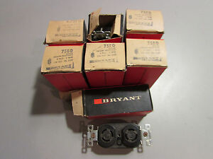 Bryant 7580 Duplex Locking Receptacle 3 P 3 Wire 15A - 125v  10A - 250v Lot of 7