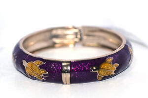 Big Purple tortoise Womens Bangle Bracelet Cuff Bracelets Gold Jewelry Dia. 60mm