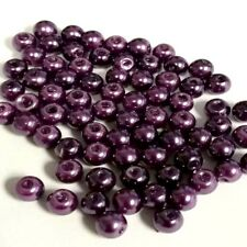 200 pieces 6mm Glass Pearl Beads - Dark Purple - A0976-A