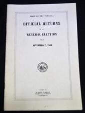 WEST VIRGINIA OFFICIAL RETURN OF THE GENERAL ELECTION STATISTICS BROCHURE 1948