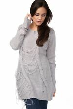 LADIES RIPPED TORN LONG JUMPER DRESS KNITTED HOLLOW OUT TOP BLOUSE SWEATER WOOLY