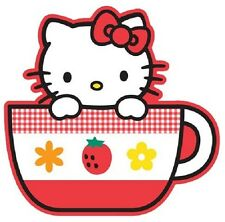 """(#11D) HELLO KITTY with Tea Cup sticker 4.25"""" x 4.25"""" decal"""