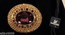Signed Swan Swarovski Gold Plated Large Amethyst Brooch Pin SALE