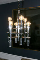 Vtg Mid Century/ Hollywood Regency Gaetano Sciolari Lucite Chrome Chandelier