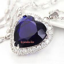 collana da donna ciondolo cuore blu strass A69