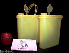 Tupperware YELLOW ~2 oval Beverage Buddy Pitchers Half Gallon ~Pour All Canister