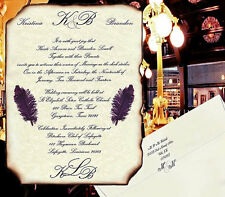 qty 50 Monogram Wedding Invitations Elegance purple plum party scrolls & rsvp