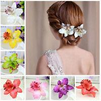 Fashion Bridal Wedding Orchid Flower Hair Clip Barrette Women Girls Accessor TB
