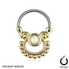 "16G 3/8"" Single Opal Gold Plated Surgical Steel Nose Bull Ring Septum Clicker"