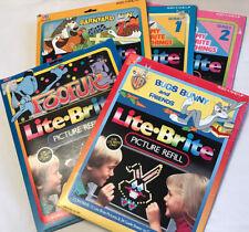 5 Vintage 1980s Lite Brite Picture Refill Sheet Sets ~ Bugs Bunny ~ Foofur ~